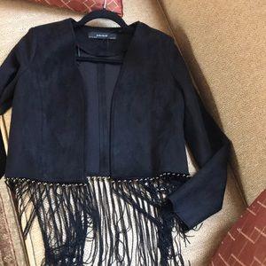 Zara faux suede and fringe blazer .